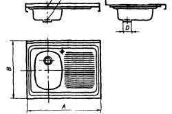 Схема накладной мойки